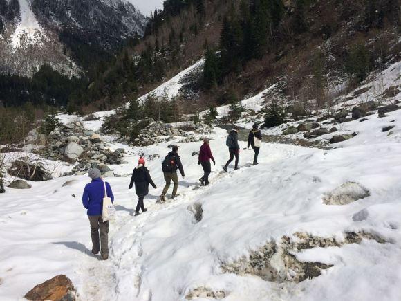 A snowy hike.